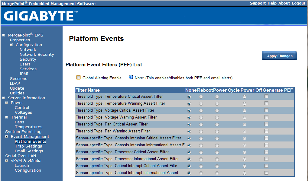 Gigabyte IPMI Management Platform Events