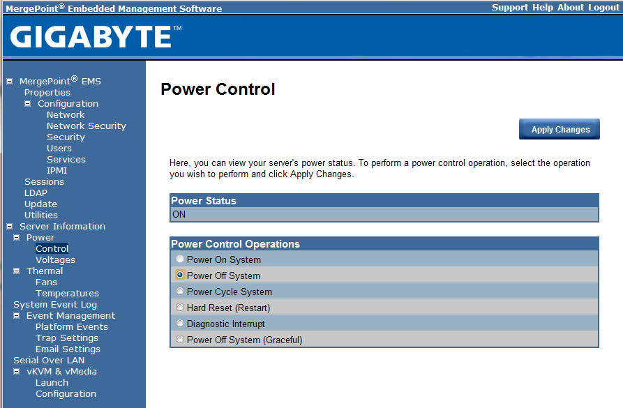 Gigabyte IPMI Management Power Control