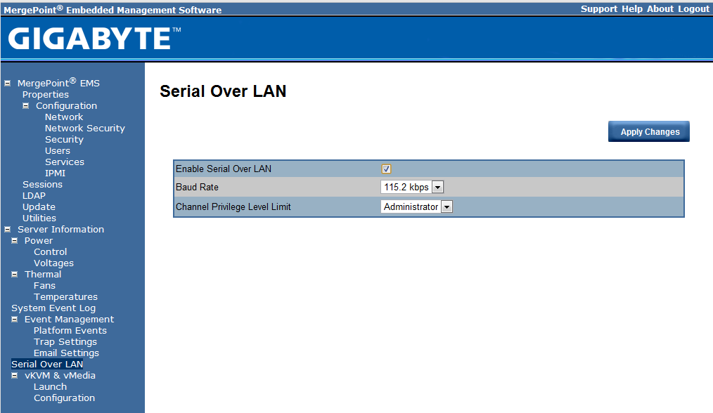 Gigabyte IPMI Management Serial Over LAN