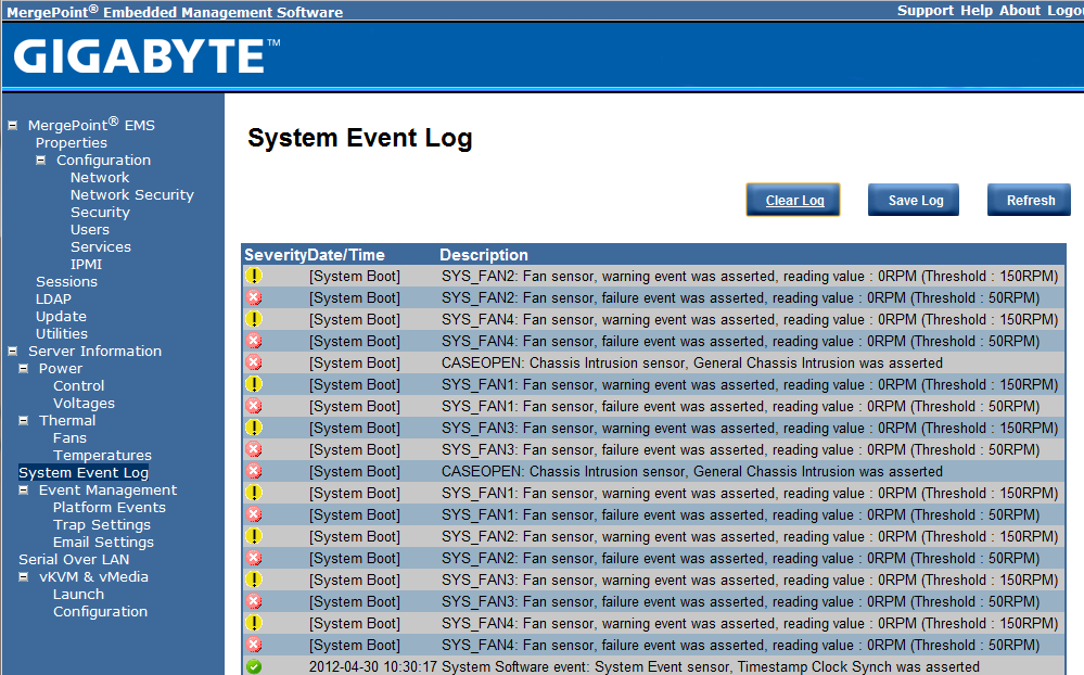 Gigabyte IPMI Management System Event Log