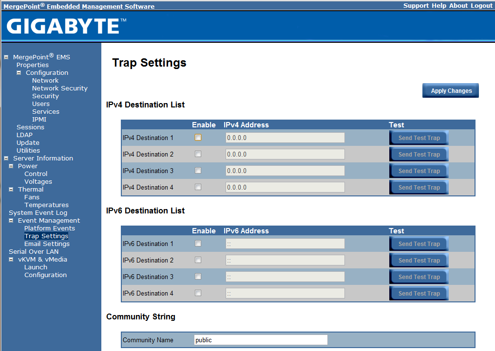 Gigabyte IPMI Management Trap Settings