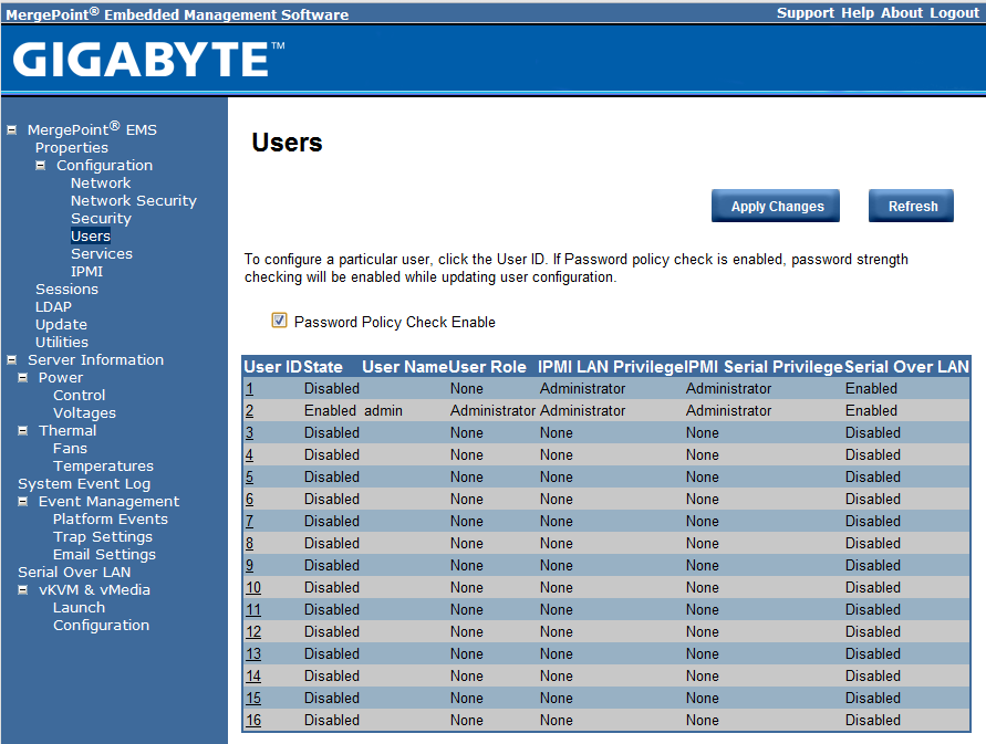 Gigabyte IPMI Management User Management