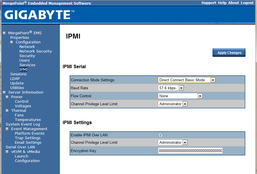 Gigabyte IPMI Management Web IPMI Settings