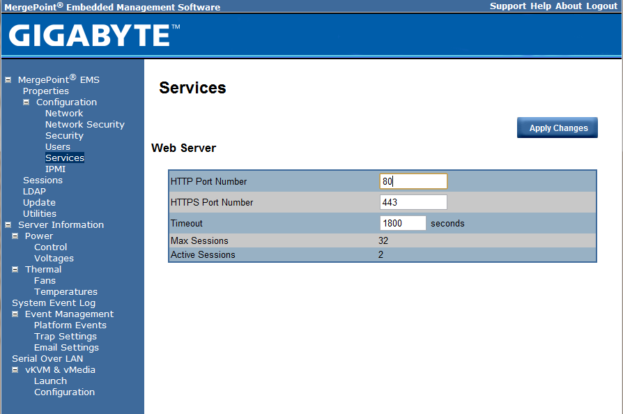 Gigabyte IPMI Management Web Server Settings