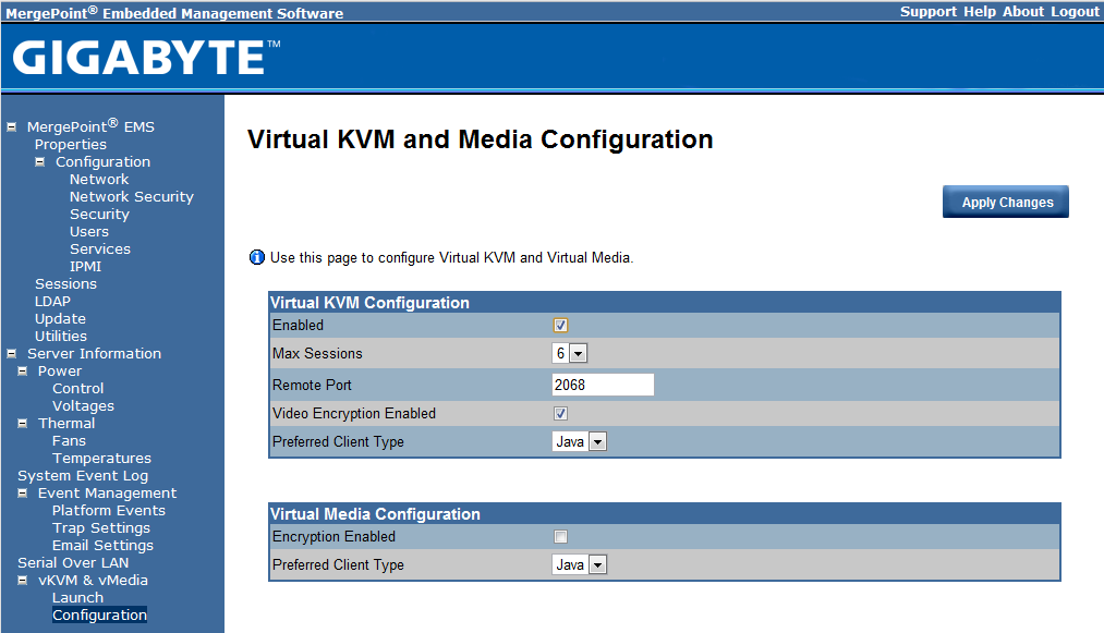 Gigabyte IPMI Management vKVM and vMedia Configuration