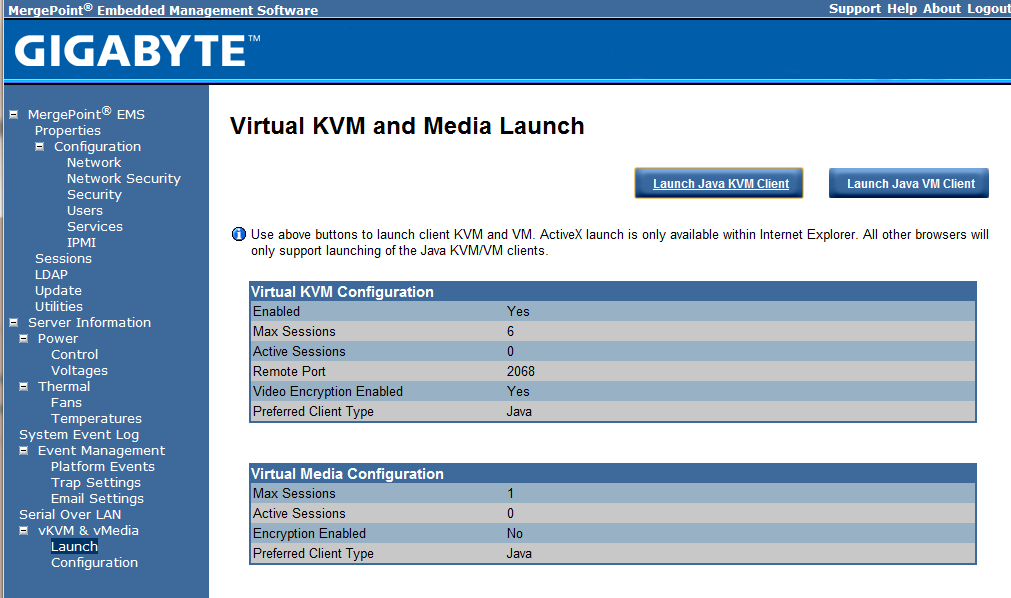 Gigabyte IPMI Management vKVM and vMedia
