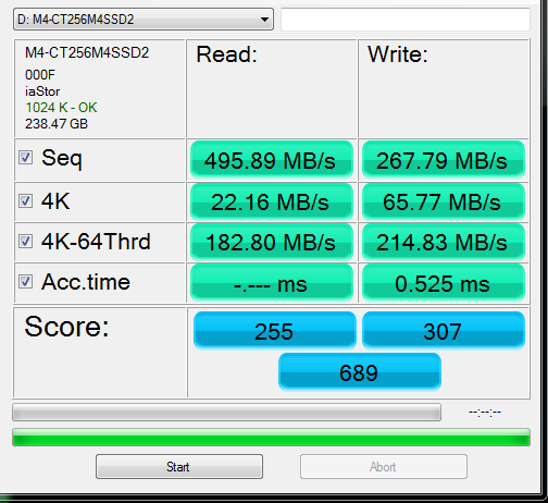 Crucial M4 256GB AS SSD