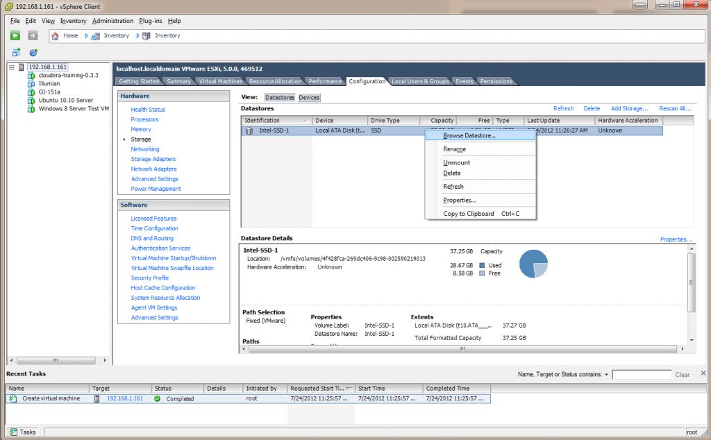 ESXi 5 Select Data Store