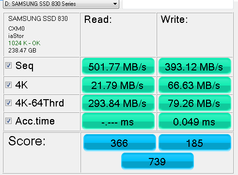 SAMSUNG SSD 830 Series 256GB AS SSD Benchmark