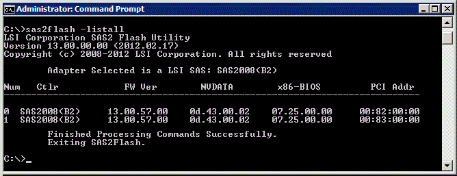 LSI 9202-16e sas2flash screenshot