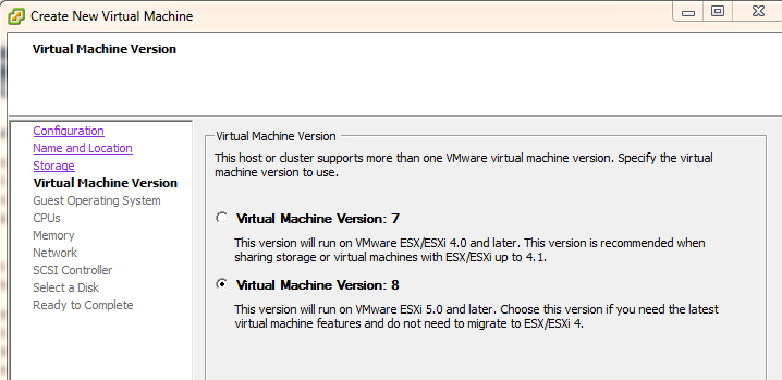 Select VM Version 8
