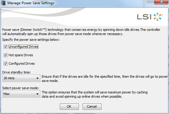 LSI SAS 2108 Power Save Menu
