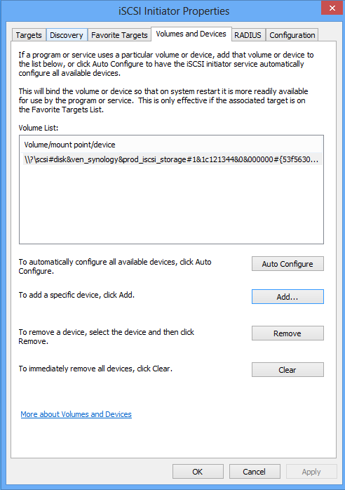 Configure Volume with Windows 8 iSCSI Initiator
