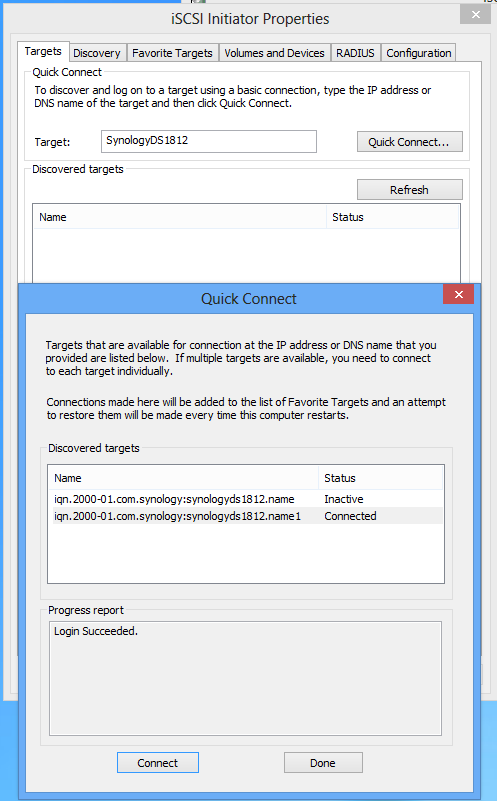 Connect to Synology iSCSI Target with Windows 8