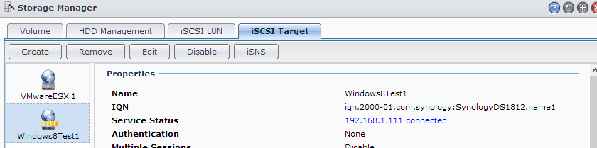 Connected to Synology iSCSI Target with Windows 8