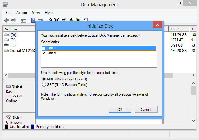 Initialize Disk from Microsoft Windows 8 iSCSI Initiator
