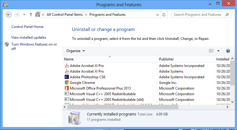 Install Hyper-V on Windows 8 - Control Panel Add Features Step 1