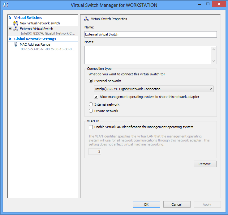 Install Hyper-V on Windows 8 - Create an external virtual switch