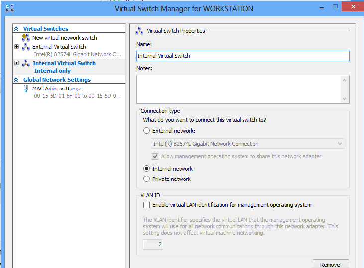 Install Hyper-V on Windows 8 - Create an internal virtual switch