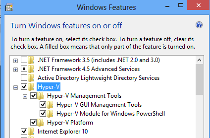 Install Hyper-V on Windows 8 - Select Hyper-V Features Step 2