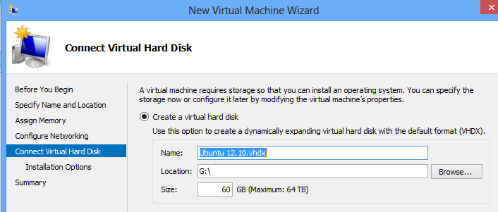Install Ubuntu on Windows 8 Hyper-V - Assign a Virtual Disk