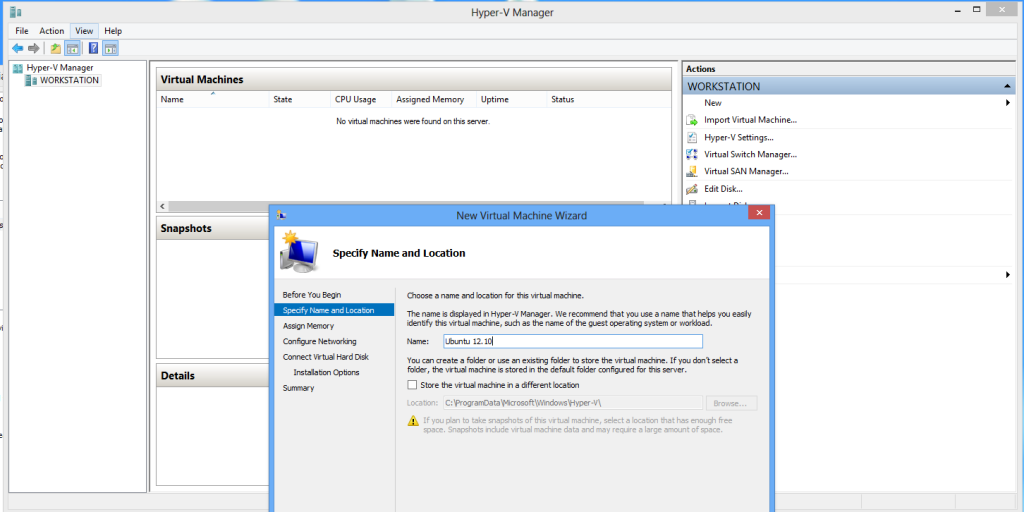 Install Ubuntu on Windows 8 Hyper-V - Create new virtual machine
