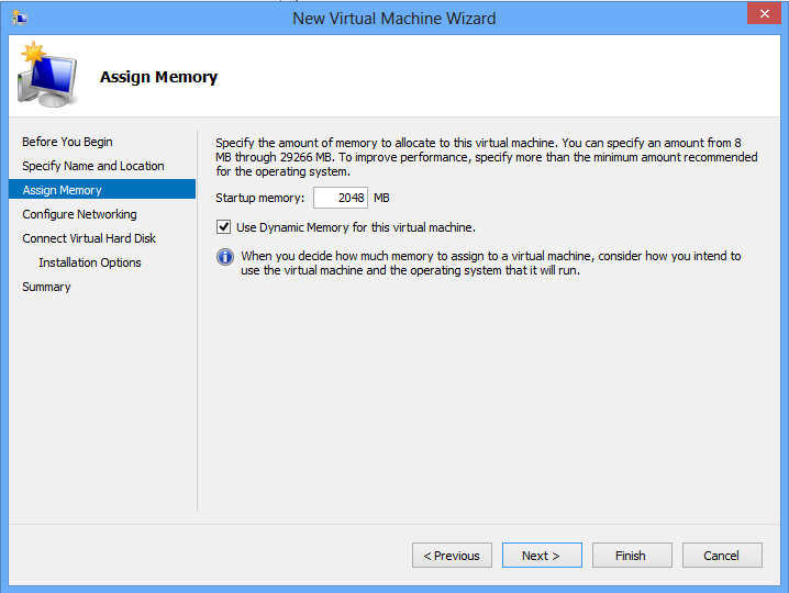 Install Ubuntu on Windows 8 Hyper-V - Memory Allocation