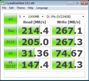 Kingston V+200 240GB CrystalDiskMark Benchmark