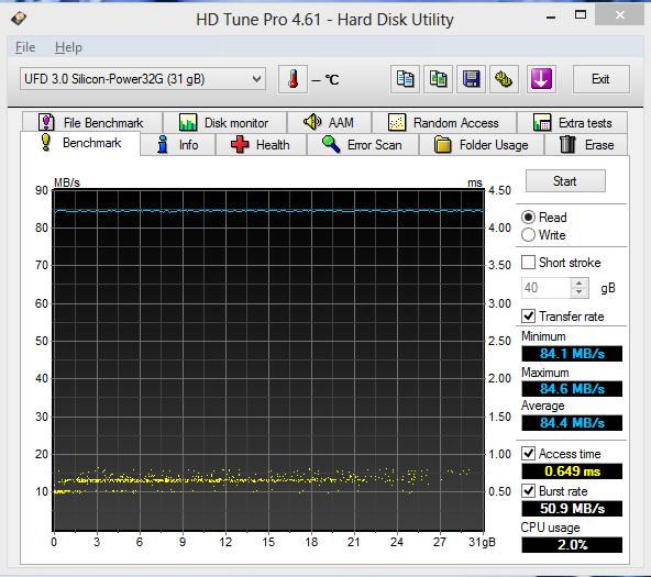Silicon Power Blaze B10 32GB USB 3.0 HD Tune Pro Read