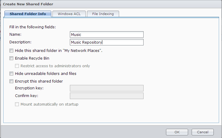 Synology Create New Shared Folder