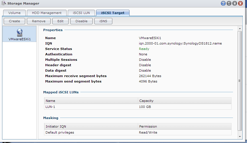 Synology DS1812+ Setup iSCSI Target Screen