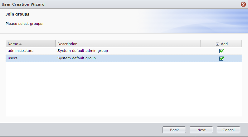 Synology WebGUI Join Groups