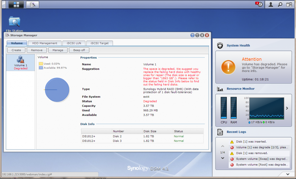 Synology DS1812+ Synology WebGUI Volume Created - Degraded Array