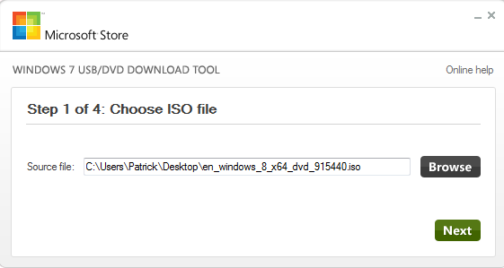 Windows 7 USB Tool Windows 8 ISO Selection