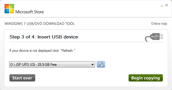 Windows 7 USB Tool Insert USB Device for Windows 8 Installation