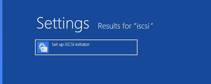Windows 8 - Settings iSCSI Initiator Set Up