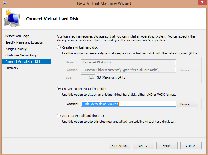 Cloudera CDH4 Hadoop in Windows 8 Hyper-V Connect VM to VHD