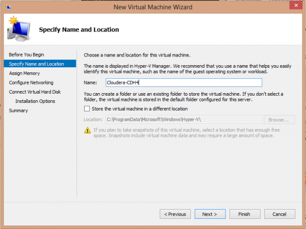 Cloudera CDH4 Hadoop in Windows 8 Hyper-V Create VM