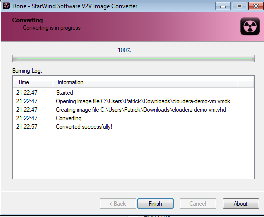 Cloudera CDH4 Hadoop in Windows 8 Hyper-V VDMK to VHD Conversion Format Success