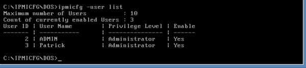 IPMIcfg DOS add a user at the administrator level