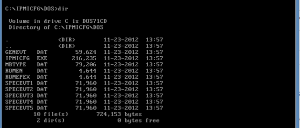 IPMIcfg DOS dir listing