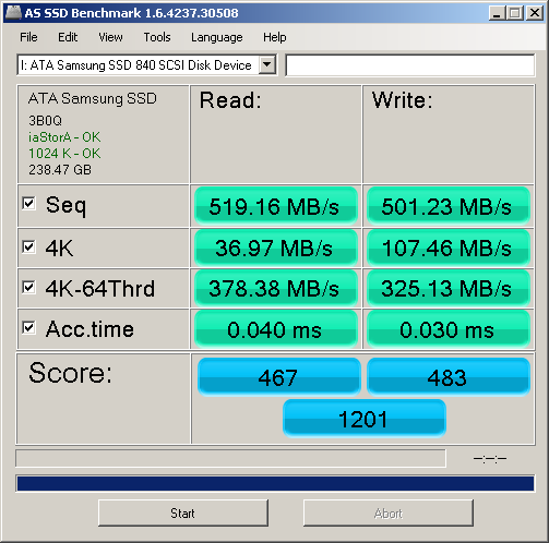 Samsung 840 Pro 256GB SSD AS SSD Benchmark