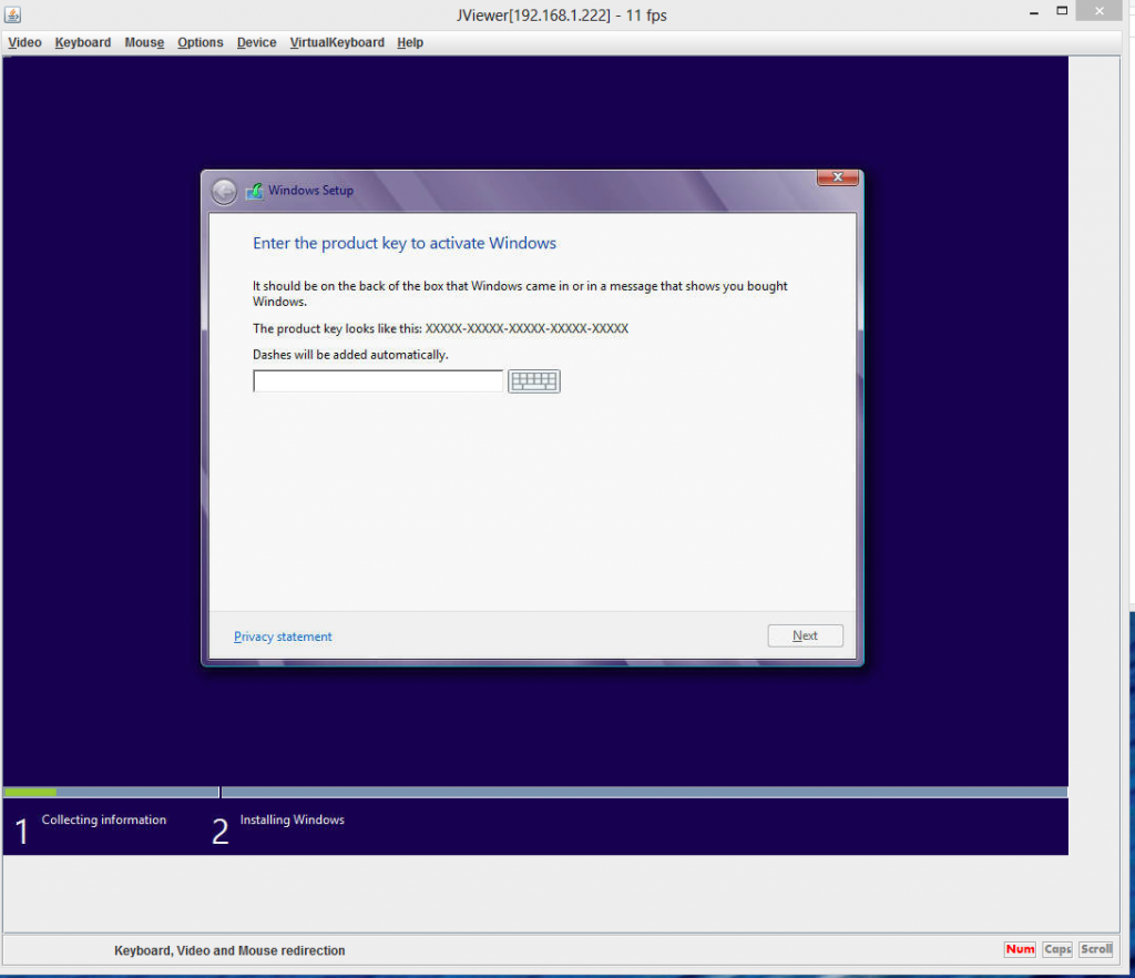Windows 8 Enterprise Installation Screen - Key Activation