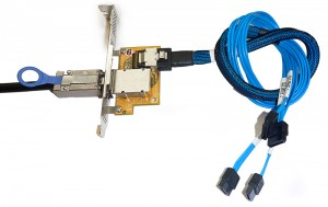 SAS to SATA Forward Breakout Cable and PCI Adapter