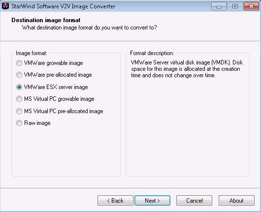Select VMware ESX in Starwind V2V converter
