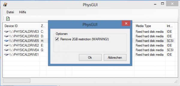 Copy pfsense image to hard drive - PhysGUI remove 2GB restriction