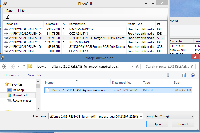 Copy pfsense image to hard drive - PhysGUI select the correct image