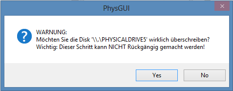Copy pfsense image to hard drive - PhysGUI write warning message