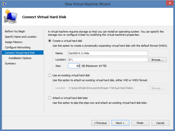 Install CentOS 6.3 on Windows 8 Hyper-V – Assign a Virtual Disk