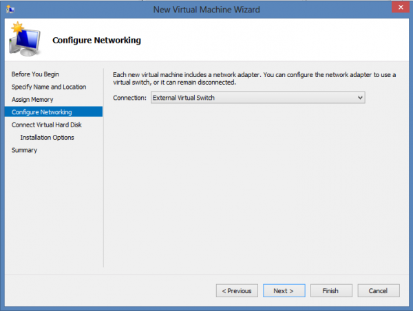 Install CentOS 6.3 on Windows 8 Hyper-V – Assign a virtual Switch